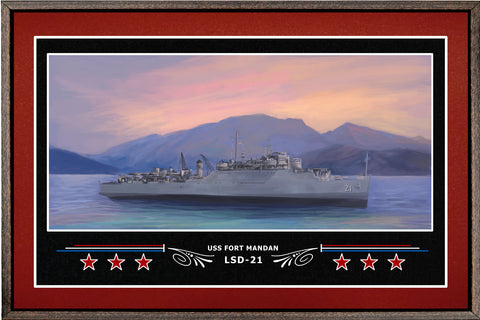 USS FORT MANDAN LSD 21 BOX FRAMED CANVAS ART BURGUNDY