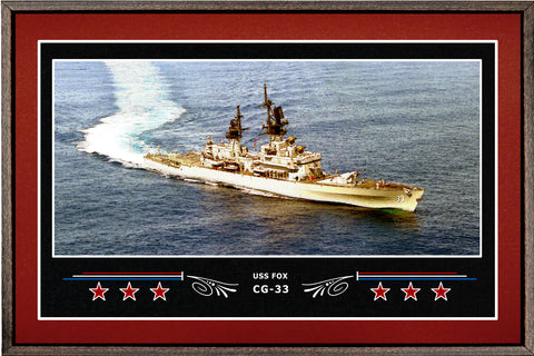 USS FOX CG 33 BOX FRAMED CANVAS ART BURGUNDY