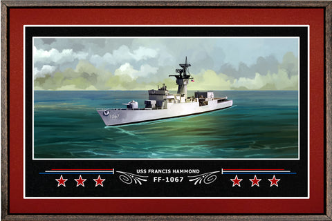 USS FRANCIS HAMMOND FF 1067 BOX FRAMED CANVAS ART BURGUNDY