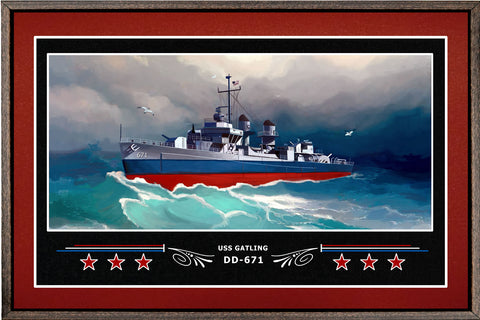 USS GATLING DD 671 BOX FRAMED CANVAS ART BURGUNDY