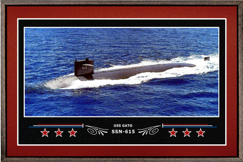 USS GATO SSN 615 BOX FRAMED CANVAS ART BURGUNDY