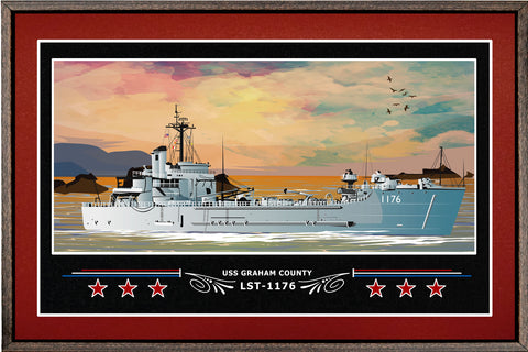 USS GRAHAM COUNTY LST 1176 BOX FRAMED CANVAS ART BURGUNDY