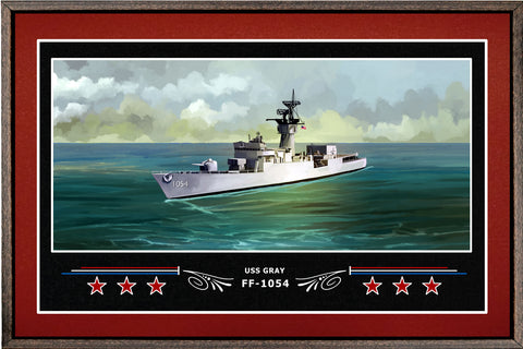 USS GRAY FF 1054 BOX FRAMED CANVAS ART BURGUNDY