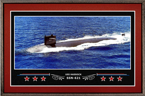 USS HADDOCK SSN 621 BOX FRAMED CANVAS ART BURGUNDY