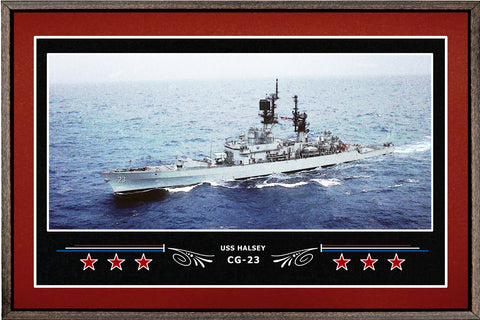 USS HALSEY CG 23 BOX FRAMED CANVAS ART BURGUNDY