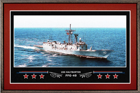 USS HALYBURTON FFG 40 BOX FRAMED CANVAS ART BURGUNDY