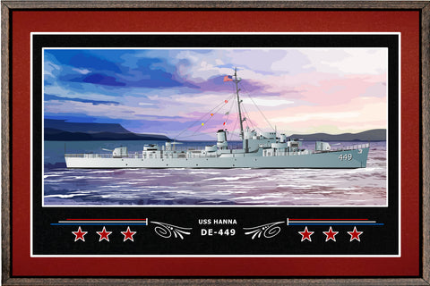 USS HANNA DE 449 BOX FRAMED CANVAS ART BURGUNDY