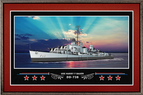 USS HARRY F BAUER DD 738 BOX FRAMED CANVAS ART BURGUNDY
