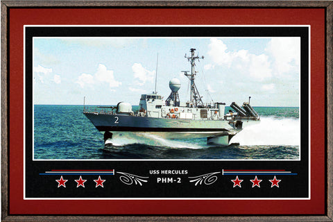 USS HERCULES PHM 2 BOX FRAMED CANVAS ART BURGUNDY