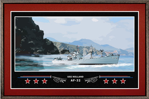 USS HOLLAND AF 32 BOX FRAMED CANVAS ART BURGUNDY