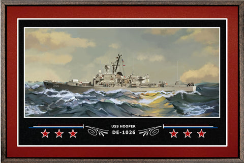 USS HOOPER DE 1026 BOX FRAMED CANVAS ART BURGUNDY