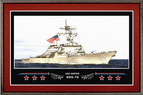 USS HOPPER DDG 70 BOX FRAMED CANVAS ART BURGUNDY