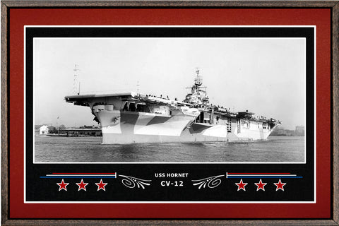USS HORNET CV 12 BOX FRAMED CANVAS ART BURGUNDY