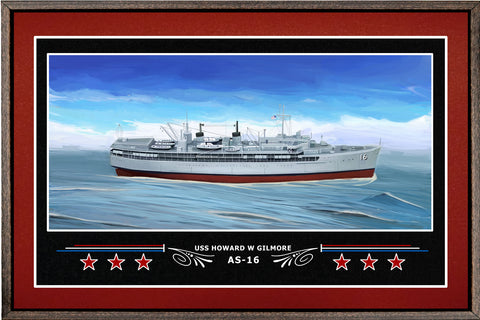USS HOWARD W GILMORE AS 16 BOX FRAMED CANVAS ART BURGUNDY