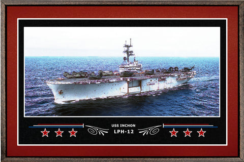 USS INCHON LPH 12 BOX FRAMED CANVAS ART BURGUNDY