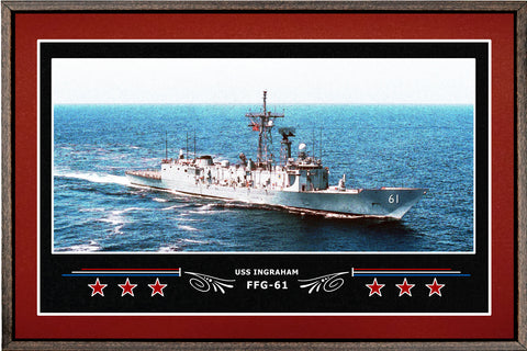 USS INGRAHAM FFG 61 BOX FRAMED CANVAS ART BURGUNDY