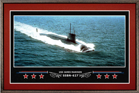 USS JAMES MADISON SSBN 627 BOX FRAMED CANVAS ART BURGUNDY
