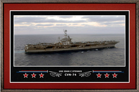 USS JOHN C STENNIS CVN 74 BOX FRAMED CANVAS ART BURGUNDY