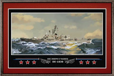 USS JOSEPH K TAUSSIG DE 1030 BOX FRAMED CANVAS ART BURGUNDY