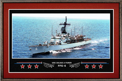 USS JULIUS A FURER FFG 6 BOX FRAMED CANVAS ART BURGUNDY