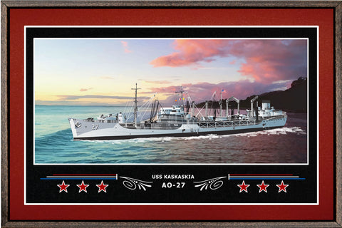 USS KASKASKIA AO 27 BOX FRAMED CANVAS ART BURGUNDY