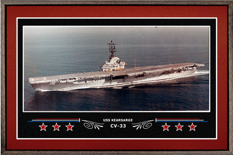 USS KEARSARGE CV 33 BOX FRAMED CANVAS ART BURGUNDY