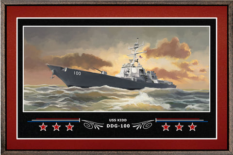 USS KIDD DDG 100 BOX FRAMED CANVAS ART BURGUNDY