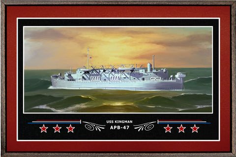 USS KINGMAN APB 47 BOX FRAMED CANVAS ART BURGUNDY
