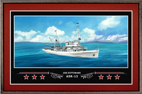 USS KITTIWAKE ASR 13 BOX FRAMED CANVAS ART BURGUNDY