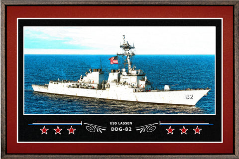 USS LASSEN DDG 82 BOX FRAMED CANVAS ART BURGUNDY