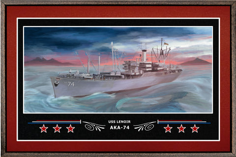 USS LENOIR AKA 74 BOX FRAMED CANVAS ART BURGUNDY