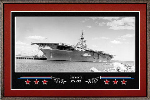 USS LEYTE CV 32 BOX FRAMED CANVAS ART BURGUNDY