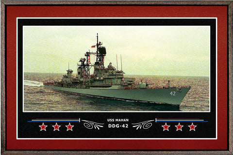 USS MAHAN DDG 42 BOX FRAMED CANVAS ART BURGUNDY