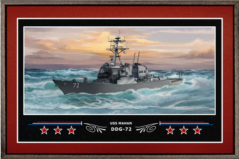 USS MAHAN DDG 72 BOX FRAMED CANVAS ART BURGUNDY