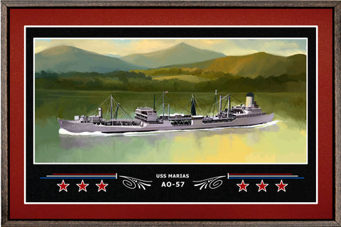USS MARIAS AO 57 BOX FRAMED CANVAS ART BURGUNDY