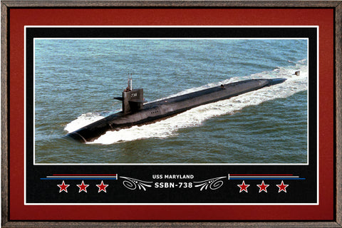 USS MARYLAND SSBN 738 BOX FRAMED CANVAS ART BURGUNDY