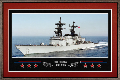 USS MERRILL DD 976 BOX FRAMED CANVAS ART BURGUNDY
