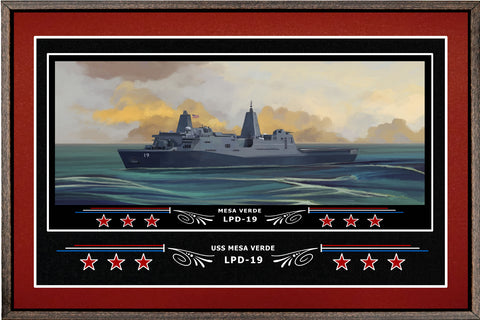 USS MESA VERDE LPD 19 BOX FRAMED CANVAS ART BURGUNDY