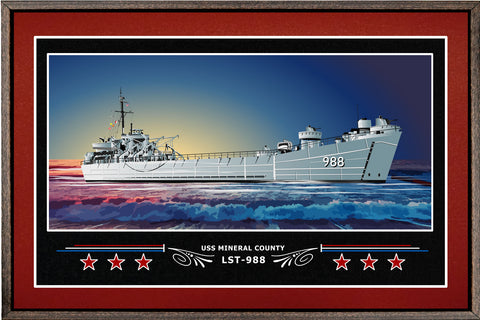 USS MINERAL COUNTY LST 988 BOX FRAMED CANVAS ART BURGUNDY