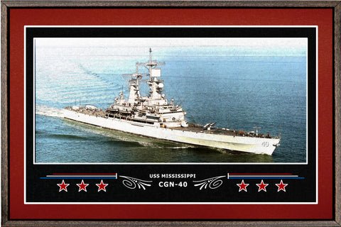 USS MISSISSIPPI CGN 40 BOX FRAMED CANVAS ART BURGUNDY