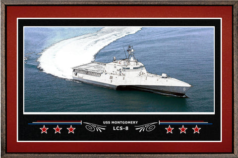 USS MONTGOMERY LCS 8 BOX FRAMED CANVAS ART BURGUNDY