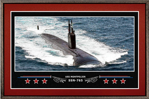USS MONTPELIER SSN 765 BOX FRAMED CANVAS ART BURGUNDY