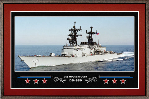 USS MOOSBRUGGER DD 980 BOX FRAMED CANVAS ART BURGUNDY