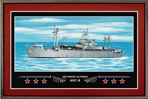 USS MOUNT OLYMPUS AGC 8 BOX FRAMED CANVAS ART BURGUNDY