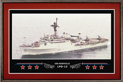 USS NASHVILLE LPD 13 BOX FRAMED CANVAS ART BURGUNDY