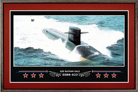 USS NATHAN HALE SSBN 623 BOX FRAMED CANVAS ART BURGUNDY