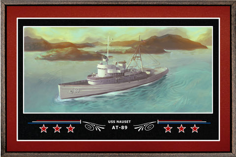 USS NAUSET AT 89 BOX FRAMED CANVAS ART BURGUNDY
