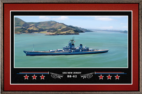 USS NEW JERSEY BB 62 BOX FRAMED CANVAS ART BURGUNDY