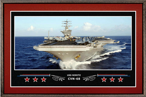 USS NIMITZ CVN 68 BOX FRAMED CANVAS ART BURGUNDY