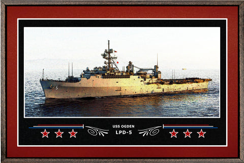 USS OGDEN LPD 5 BOX FRAMED CANVAS ART BURGUNDY